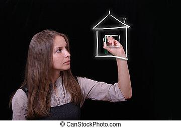 mulher, delinear, casa, bens imóveis, conceito