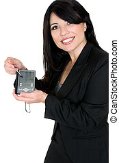 mulher, demonstrar, produto