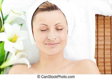 mulher, descansar, tabela, mentindo, massagem