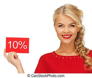 mulher, desconto, cartão, encantador, vestido, vermelho