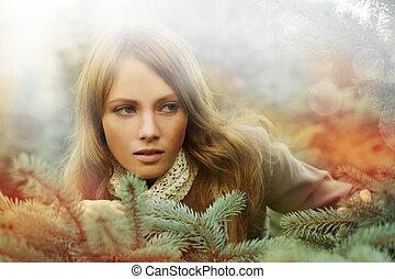 mulher, desejo, moda, -, beleza