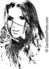 mulher, desenho, ilustração