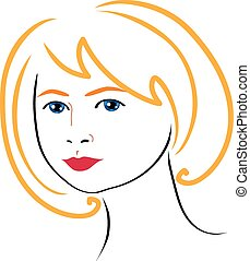 mulher, desenho, rosto