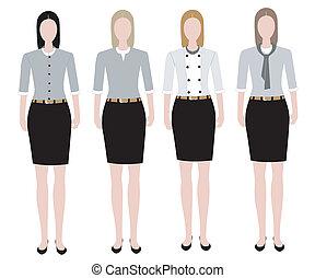mulher, desenho, uniforme