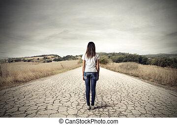 mulher, deserto