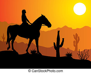 mulher, deserto, cavalo