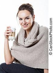 mulher, desfrutando, dela, café