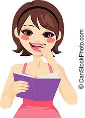 mulher, desfrutando, livro
