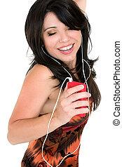 mulher, desfrutando, música