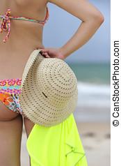 mulher, desfrutando, praia