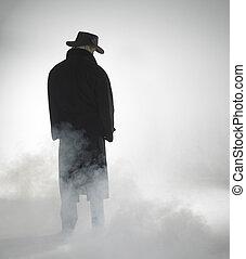 mulher, desgastar, casaco trincheira, e, ficar, em, nevoeiro