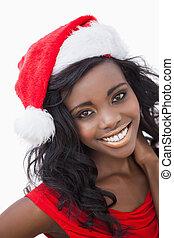 mulher, desgastar, claus, chapéu santa, vestido vermelho