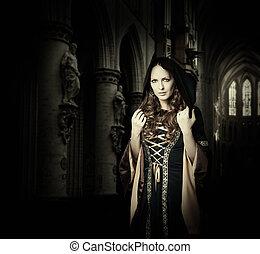 mulher, desgastar, medieval, vestido, bonito