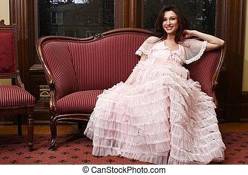 mulher, desgastar, vindima, vestido