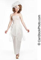 mulher, deslumbrante, jovem, arco, moda, vestido casamento