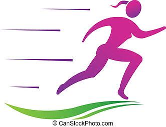 mulher, desporto, condicão física, executando, fast.
