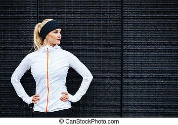 mulher, determinado, jovem, esportes