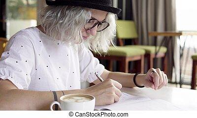 mulher, diário, diário, escrita