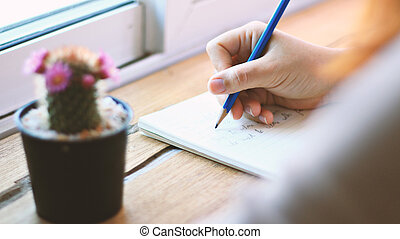 mulher, diário, jovem, escrita