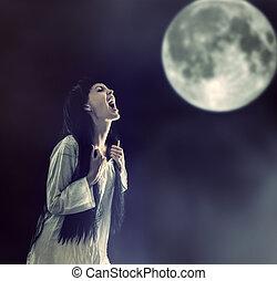 mulher, dia das bruxas, lua, zombie, cheio, gritando