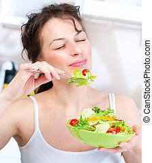 mulher, diet., vegetal, jovem, comer, salada, saudável
