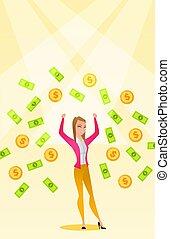 mulher, dinheiro, busiess, rain., sob, feliz