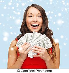 mulher, dinheiro, dólar, nós, vestido, vermelho
