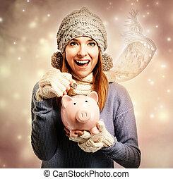 mulher, dinheiro, piggy, feliz, jovem, depositar, banco, dela