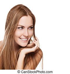 mulher, direito, jovem, cabelo longo, bonito, retrato, sorrindo
