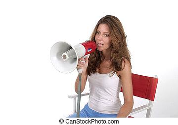 mulher, diretor, com, megafone, 3