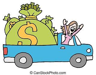 mulher, dirigindo, dinheiro, afastado, saco, poupança,...