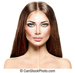 mulher, dividido, maquilagem, rosto, misturando, destaque,...