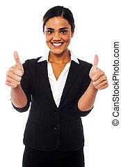 mulher, dobro, mostrando, cima, polegares, atraente