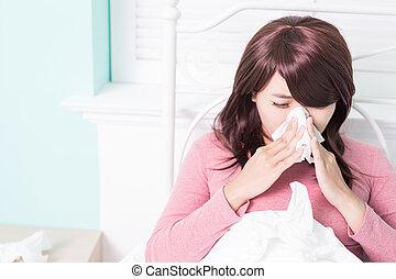 mulher doente, apanhou uma constipação