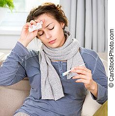 mulher doente, com, thermometer., flu., mulher, apanhou uma constipação