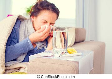 mulher doente, espirrando, em, tissue., flu., mulher, apanhou uma constipação