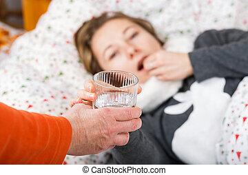 mulher doente, obtendo, gripe