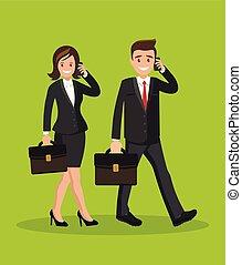 mulher, dois, falando, telefone., homem negócios, homem