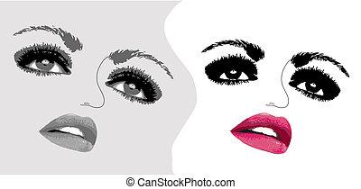 mulher, dois, ilustração, rosto, vetorial, eyes.