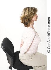 mulher, dor, costas, negócio