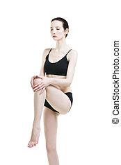mulher, dor, perna, segura, jovem, esportes, seu, knee.