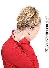 mulher, dor, pescoço