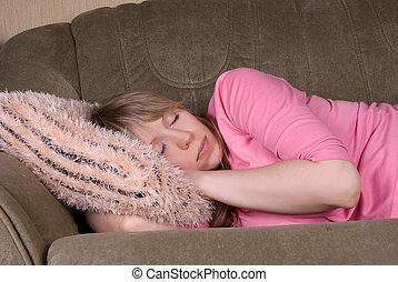 mulher, dormir