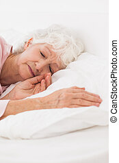 mulher, dormir, cama