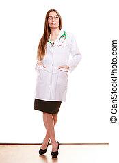 mulher, doutor médico, com, stethoscope., cuidado saúde