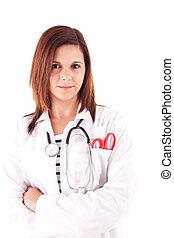 mulher, doutor, sobre, fundo, branca, médico
