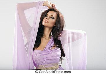 mulher, dress., beleza, violeta