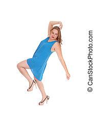 mulher, dress., dançar