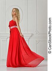 mulher, dress., longo, vermelho, bonito