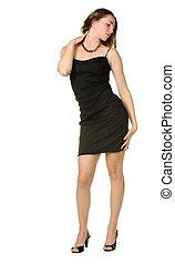 mulher, dress., pretas
